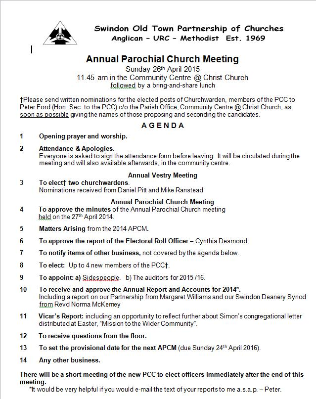 Annual Parochial Church Meeting Agenda  Christ Church News